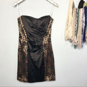 Sequin Hearts| Strapless Gold and Black Lace Dress